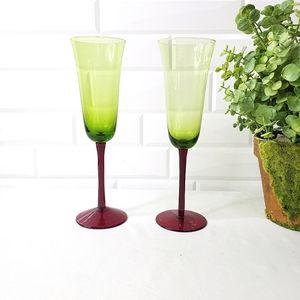 Vintage Green Flute Red Stem Champagne Glasses 2